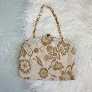 Vintage floral gold fabric bag